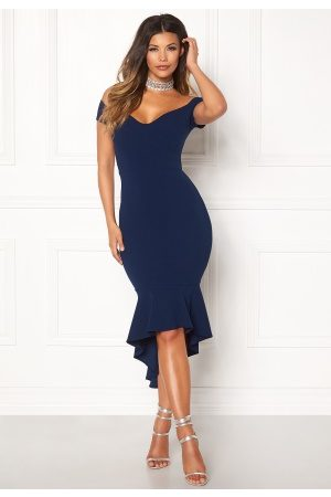 John Zack Off Shoulder High Dress Navy L (UK14)