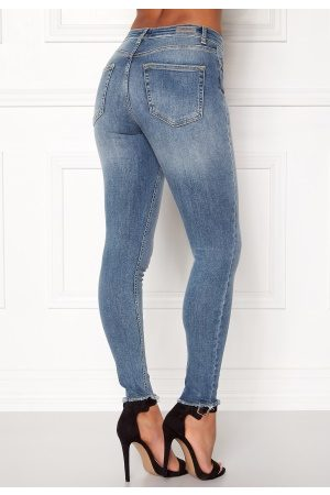 Only Dame Skinny - Blush Mid Raw Jeans Light Blue Denim L/30