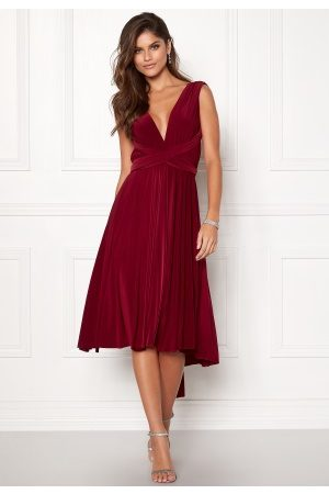 Goddiva Multi Tie Midi Dress Berry L (UK14)