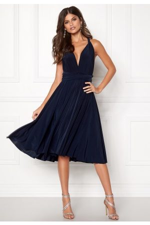 Goddiva Multi Tie Midi Dress Navy M (UK12)