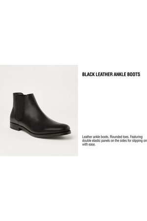 Zara BLACK LEATHER ANKLE BOOTS