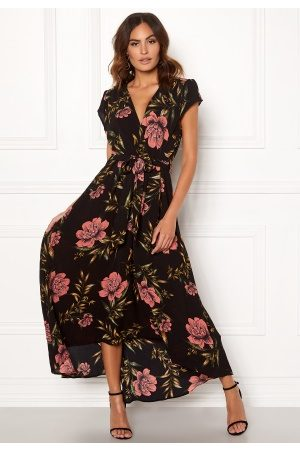 Ax Paris Dame Maxikjoler - Floral Waterfall Dress Black XS (UK8)