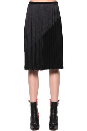 MARCO DE VINCENZO Fringed Pleated Cady Midi Skirt