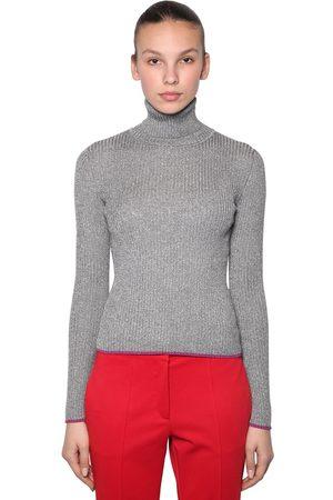 MARCO DE VINCENZO Lurex Ribbed Turtleneck Sweater
