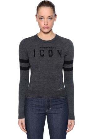 Dsquared2 Icon Flocked Wool Blend Knit Sweater