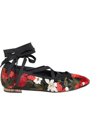 Paloma Barceló 10mm Embroidered Satin Lace Up Flats