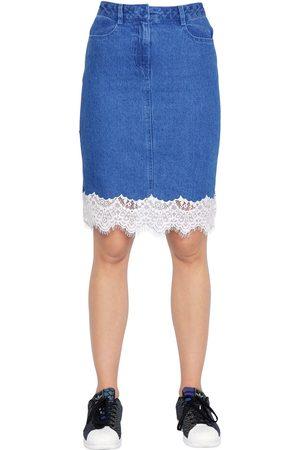 SJYP Steve J & Yoni P Cotton Denim Skirt W/ Lace Trim