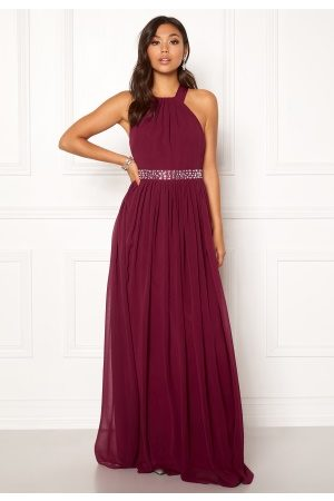 Goddiva Halterneck Chiffon Maxi Dress Berry XL (UK16)