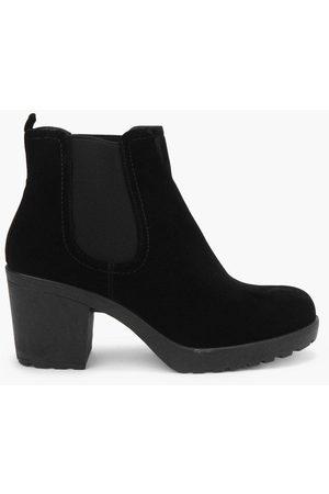 Boohoo Block Heel Suedette Chelsea Boots