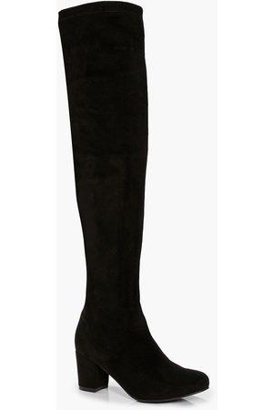Boohoo Block Heel Stretch Knee High Boots