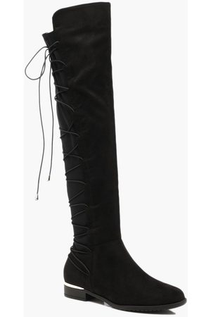 Boohoo Bungee Lace Back Knee High Boots