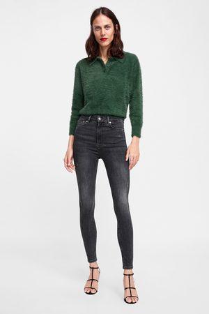 Zara Dame High waist - JEANS ZW PREMIUM HIGH WAIST SKINNY POWDER GREY