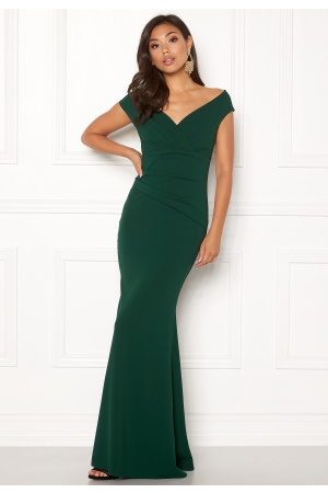Goddiva Bardot Pleat Maxi Dress Emerald XS (UK8)