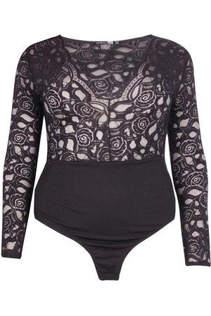 Boohoo Plus Plunge V Neck Lace Bodysuit