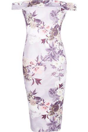 Boohoo Off The Shoulder Floral Midi Dress