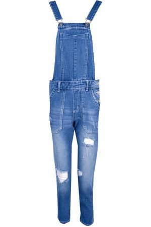 Boohoo Petite Distressed 3/4 Dungaree