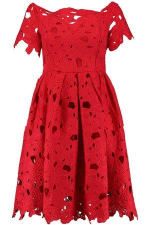 Boohoo Boutique Off Shoulder Lace Skater Dress