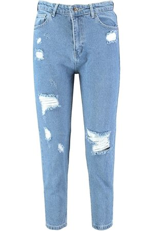 Boohoo Sophie High Waisted Distressed Mom Jeans