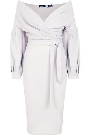Boohoo Off The Shoulder Wrap Midi Bodycon Dress