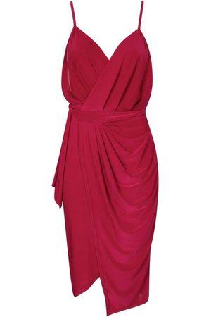 Boohoo Dame Bodycon kjoler - Wrap Over Exposed Side Detail Slinky Midi Dress