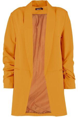 Boohoo Ruched Sleeve Blazer