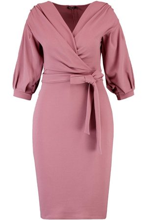 Boohoo Plus Off The Shoulder Wrap Midi Dress
