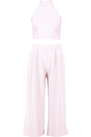 Boohoo High Neck Crop and Culotte Co-Ord Set