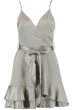 Boohoo Satin Frill Skirt Wrap Skater Dress