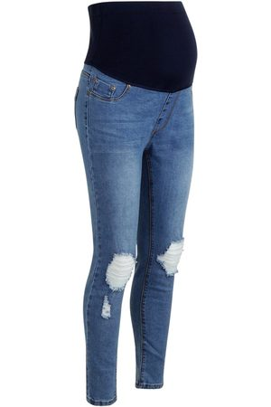 Boohoo Maternity Over The Bump Distressed Knee Skinny Jeans