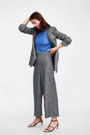 Zara Dame Culotte bukser - Culottebukse med fiskebensmønster