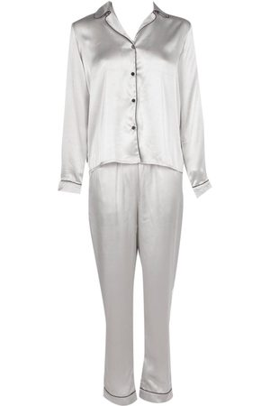 Boohoo Contrast Piping Button Down Satin Set