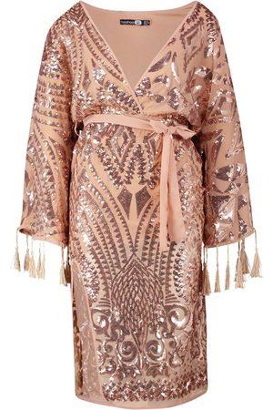 Boohoo Sequin and Tassel Kimono Sleeve Midi Dress