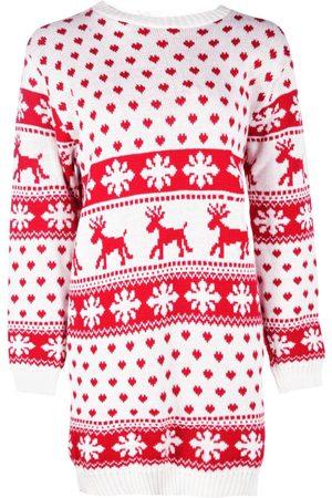Boohoo Reindeers And Snowflake Christmas Jumper Dress
