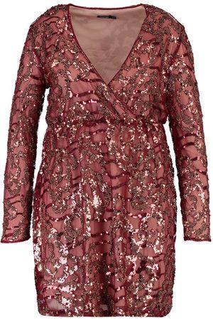 Boohoo Plus Two Tone Wrap Sequin Dress