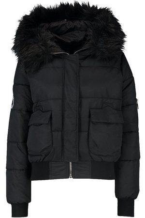 Boohoo Faux Fur Hood Crop Puffer