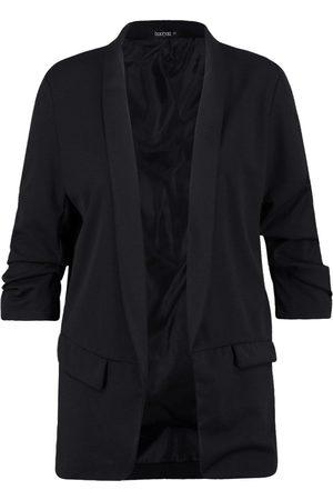 Boohoo Plus Ruched Sleeve Blazer