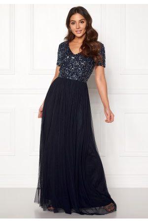 AngelEye Dame Maxikjoler - Short Sleeve Sequin Dress Navy XS (UK8)
