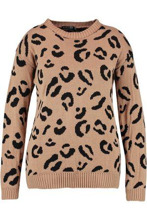 Boohoo Plus Leopard Knitted Jumper