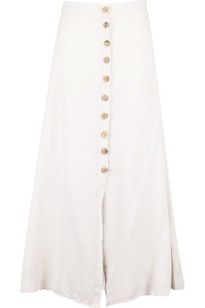 Boohoo Mock Horn Button Through Midi Skirt