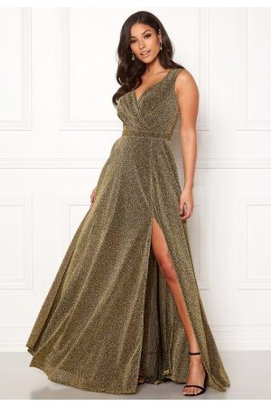 Goddiva Wrap Front Sleeve Dress Gold XXL (UK18)
