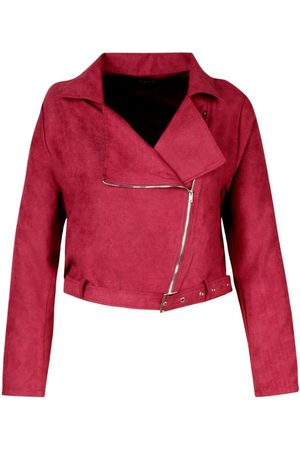 Boohoo Plus Belted Suedette Crop Biker Jacket