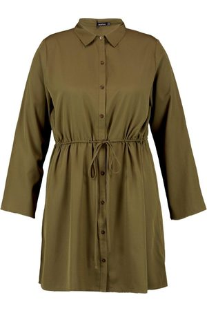 Boohoo Plus Drawstring Waist Shirt Dress