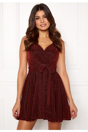 Goddiva Dame Hverdagskjoler - Lurex Skater Dress Red S (UK10)