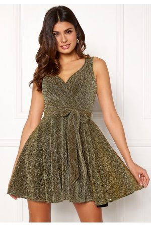 Goddiva Lurex Skater Dress Gold XS (UK8)