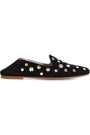 Miu Miu 10mm Embellished Suede Loafers