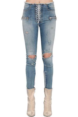 UNRAVEL Lace Up Skinny Stretch Denim Jeans