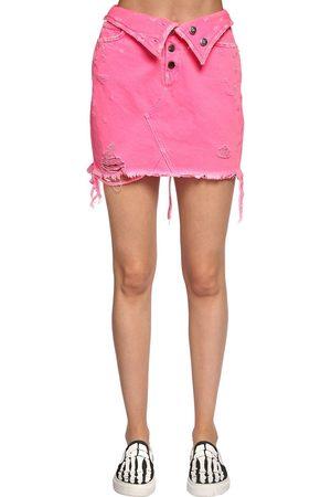 AMIRI Fold Over Destroyed Cotton Denim Skirt