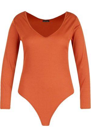 Boohoo Plus Basic Plunge Rib Bodysuit
