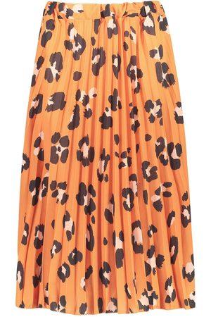Boohoo Dame Foldeskjørt - Pleated Leopard Print Midi Skirt