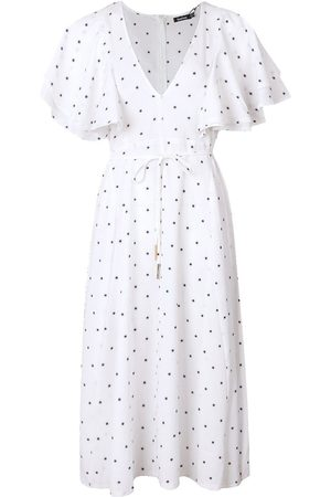 Boohoo Mini Polka Dot Ruffle Angel Sleeve Midi Dress